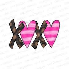 Valentine S Day Xoxo Leopard And Stripes Pre Cut Heat Transfer Decal Vinyl Printcess