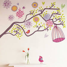 Ebern Designs Colorful Flowers Birdcage Wall Decal Reviews Wayfair