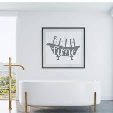 Bath Time Lettering Bathtub Silhouette Vinyl Wall Decal Bathroom Decor Customvinyldecor Com