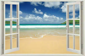 3d Window Frame Peel And Stick Mural Wall Art Beach Scene Wall Decal Removable Ebay