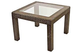 embossed silver glass coffee table
