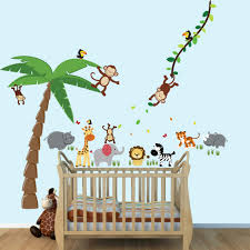 Large Palm Tree Stickers And Mini Animal Decals Hippo Elephant