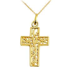 vine cross pendant necklace in 10k gold