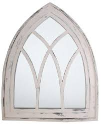 metal arch mirror aged arched wall