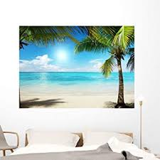 Amazon Com Wallmonkeys Caribbean Sea And Coconut Pulms Wall Decal Peel And Stick Graphic Wm347175 60 In W X 43 In H Home Kitchen