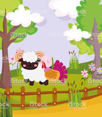 Ram And Turkey Wooden Fence Flowers Trees Farm Animal Cartoon Stock Illustration Download Image Now Istock