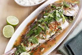Barbecued whole snapper with lime and ...
