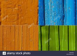 Orange Paint On A Wooden Fence Collage Stock Photo Alamy