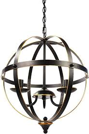 3 light industrial globe chandeliers