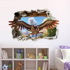 Cartoon Birds Cat Wall Stickers Cat On Birds Flied Through The Window Wall Stickers Kids Boys Girls Room Nursery Wall Applique Poster Tree Decals For Walls Cheap Tree Sticker For Wall From