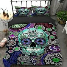 sugar skull bedding set duvet cover