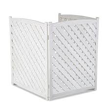 White Outdoor 3 Panel Wood 38 Height Air Conditioner Screen Privacy Fence Hideaway Wantitall