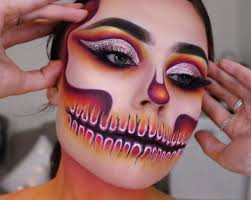 skull makeup half skeleton