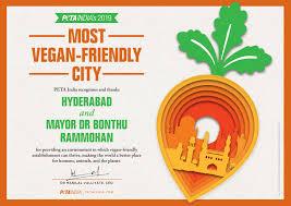 hyderabad nabs peta india s most vegan