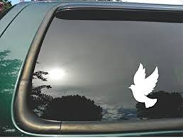 Amazon Com Dove Flying Die Cut White Vinyl Window Decal Sticker For Car Or Truck 4 X6 Automotive