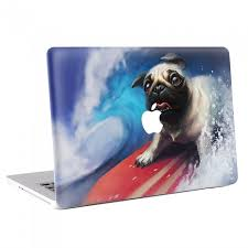 Pug Dog On Surfboard Macbook Skin Decal