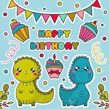 Tarjeta Del Feliz Cumpleanos Con Los Dinosaurios Kawaii Pasteles