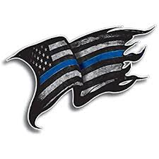 Amazon Com Thin Blue Line Police Officer Tattered Distressed American Flag Decal Sticker Kitchen Dining