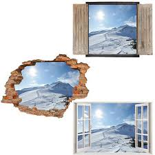 Window Wall Sticker Decal Vinyl 3d Winter Snow Mountains Home Art Room Decor Ebay