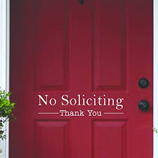 Home Decor Items Front Door Sign No Soliciting Stickers Vinyl Die Cut Peel N Stick Decals Directway Com Cy