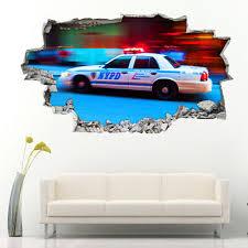 Wall Stickers Police Car City Boys Cool Bedroom Girls Boys Living Room Bb027