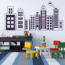Kids Room Wall Decal City Buildings Wall Poster Wall Mural Nursery Decor Vinyl Building Silhouette Wall Sticker L746 Wall Stickers Aliexpress