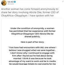 Abiola Oke, CEO of OkayPlayer resigns after multiple women took to Twitter  to accuse him of unethical conduct – Aliufastnet