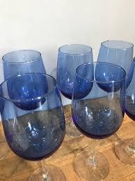 set of 8 blue wine glasses tramps