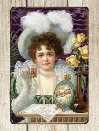 Hilda Clark First Coca Cola Celebrity Advertisement 1890s metal ...