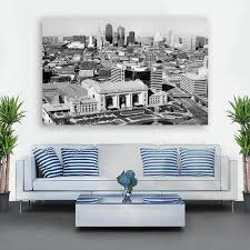 Kansas City Black White Skyline Wall Art Zapwalls