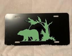 Black Bear Wildlife Vinyl Decal Vanity License Plate Black Aluminum Auto Tag Ebay