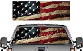 Vintage American Flag Rear Window Graphic Robertson Racing Llc