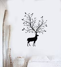 Vinyl Wall Decal Deer Horns Animal Forest Tree Nature Living Room Stic Wallstickers4you