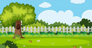 Premium Vector Background Scene With Tree And White Fence In Garden
