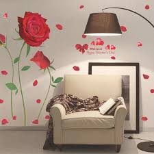 Red Rose Wall Stickers Beautiful Flower Wall Decal Diy Art Decal Tv Sofa Background Romantic Mural Living Room Home Decoration Wall Stickers Aliexpress