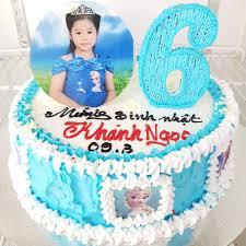 Bánh kem sinh nhật màu xanh nàng Elsa và in hình bé gái dễ thương ...