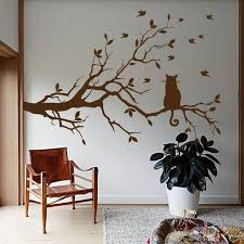 Tree Wall Decals Cat Decal Tree Wall Decal Cat Wall Art Nature Etsy