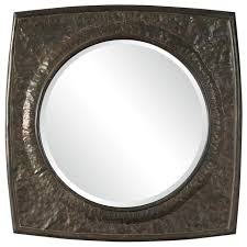 large square hammered metal wall mirror