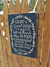 Amazon Com Olga212patrick Wooden Sign God Is Great God Is Good Let Us Thank Him For Our Food Amen With Vine Wood Gift Home Kitchen