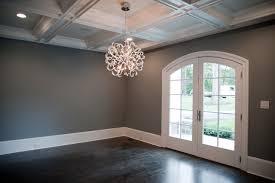 dark gray walls transitional dining