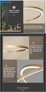 Đèn thả trần Led 4 vòng trang trí phòng khách bàn ăn tích hợp Led 3 chế độ  màu TH831A Ngân Tin (Tặng kèm remote điều khiển từ xa) - Đèn Trang