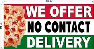 We Offer No Contact Delivery Pizza Restaurant Window Perf Decals Choose Size Ebay