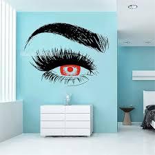 Classic Red Eye Blue Eye Design Eyelashes Wall Decal Lashes Eyebrows Vinyl Wall Sticker Beauty Salon Girl Room Wall Decor Lc138a Wall Stickers Aliexpress