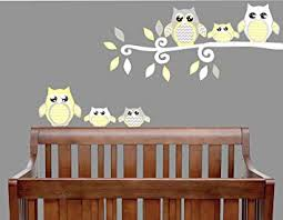 Amazon Com Yellow Owl Wall Decals Owl Stickers Owl Nursery Wall Decor Grey And Yellow Owl Wall Decals Arts Crafts Sewing
