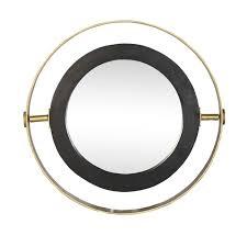 black frame large round orion mirror