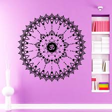 Shop Om Sign Mandal Black Vinyl Sticker Wall Art Overstock 10409773