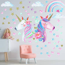 Amazon Com 3 Sheets Unicorn Wall Decal Stickers Large Size Unicorn Rainbow Wall Decor For Girls Kids Bedroom Nursery Christmas Birthday Party Decoration Baby