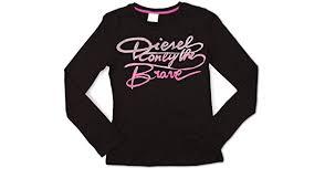 Buy Diesel Big Girls' Twila Long Sleeve T-Shirt, Black, Large at Amazon.in