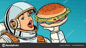 Hungry woman astronaut eating Burger — Stock Vector © studiostoks ...