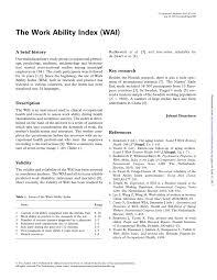 pdf the work ability index wai